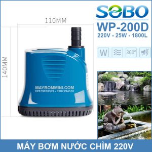 Ban May Bom Chim Ho Ca Be Ca Ao Ca 220V SOBO WP 200D Chinh Hang
